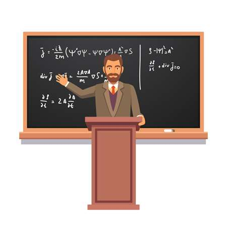 Image of a professor behind a lectern